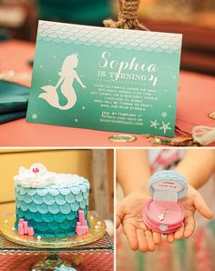 Ombre Mermaid Birthday Invitation by announcingyou on Etsy, $15.00