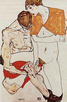 Amants, 1913, Egon Schiele