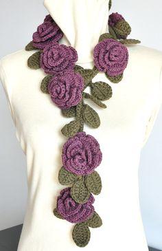 ROSA  GRAPE  Crochet Multicolor Roses by jennysunny on Etsy, $27.00