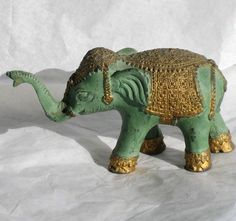 only $29.95! VTG Brass Elephant Figurine Statue from Thailand Green Golden Teal Aqua Elegant