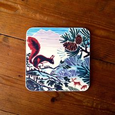 Hard-wearing melamine #coaster featuring a beautiful #squirrel #design by #British #artist Jenny Tylden-Wright.  #countryside #wildife #stags #deer #mountains #trees #redSquirrel #animals