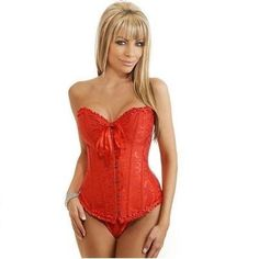 CORSET RED OVERBUST M&S LINGERIE PLUS SIZE