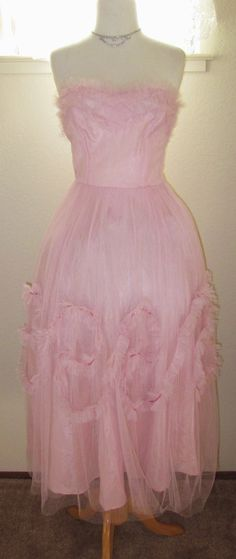 Vintage-1950s-Pink Strapless-50s party dress-50s prom dress-S, via Etsy.