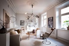 This Swedish Apartment Will Make You Want To Cozy Up Your Home For Fall Simple Living Room, Home Living Room, Living Room Decor, Cozy Living, Small Living, Living Room Trends, Living Room Designs, Modern Scandinavian Interior, Vintage Apartment
