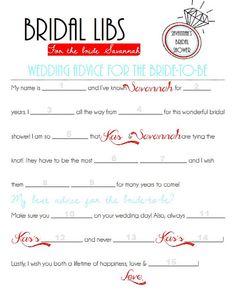 Bridal Shower Game -- Bridal Libs on Etsy, $5.00