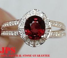 TOP RATED 1.85cts GENUINE RED SPINEL & WHITE SAPPHIRE RING SOLID 925SS S#7  100% SOLID 925SS & NATURAL STONE + GEM REPORT