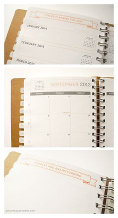 2013 planner, weekly & monthly, wirebound with screenprinted cover, cute 2013 planner. $35,00, via Etsy.