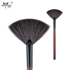 Anmor cabra pelo cepillo del ventilador de alta calidad componen cepillos para diario o maquillaje profesional