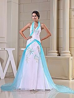 e901b14892b Magical Halter Beaded Mermaid Organza and Satin Evening Dress - USD  168.00  Prom Dresses 2016