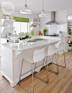 Fresh white with pops of color.  kitchen.  home decor and interior decorating ideas.
