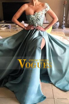 2017 Satin Prom Dresses A Line One Shoulder With Handmade Flowers And Slit US$ 159.99 VUPTCTHTAN - VoguesPromDress.com for mobile