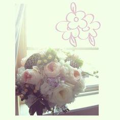 Wedding flowers. Bridal bouquet. Peach. lavender stock. garden roses. purple wedding. peach wedding.