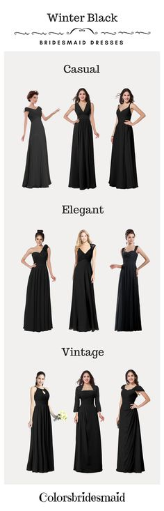 These black bridesmaid dresses are very suitable for winter weddings. They can be custom made to all sizes and are mostly sold under 100. What affordable bridesmaid dresses with high quality they are!