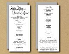 Printable Custom DIY Wedding Program - Whimsical Calligraphy - Tea Length