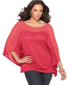 Soprano Plus Size Top, Batwing Sleeve Sheer - Plus Size Tops - Plus Sizes - Macy's