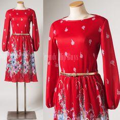 Vintage 80s Dress Vintage Red Dress by TrendyHipBuysVintage