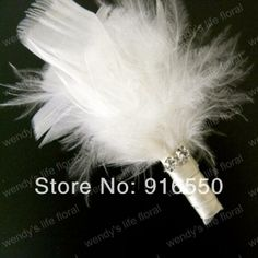 Free shipping White Feather Groom Boutonniere Feather Corsage / Feather Buttonhole Peacock Groom Decoration Feather Corsage-in Decorative Fl...