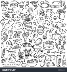 food doodles set