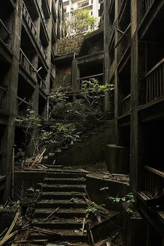 The ghost island of Hashima, Nagasaki Prefecture, Japan - abandoned after the closure of its coal mines as Japan largely converted to petroleum in the Abandoned Buildings, Abandoned Mansions, Old Buildings, Abandoned Places, Abandoned Castles, Abandoned Cars, Derelict Places, Hashima Island, Haunted Places