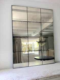 Hand Silvered Antiqued Panelled Foxed Mirrors - plus, French antique furniture, art deco interior decoration, painted chests, mirrors and Hallway Mirror, Hall Mirrors, Window Mirror, Wall Mirror Ideas, Mirror Panel Wall, Mirror Mirror, Flur Design, Dressing Room Design, Decoration Originale