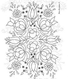 pattern for Bauernmalerei embroidered flowers and leaves-very pretty! Mexican Embroidery, Hungarian Embroidery, Crewel Embroidery, Beaded Embroidery, Cross Stitch Embroidery, Embroidery Flowers Pattern, Hand Embroidery Designs, Flower Patterns, Embroidery Ideas
