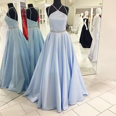 Pale Blue Prom Dress,Ball Gown Prom Dress,Long Prom Dress,Disney Prom Dress,MA171