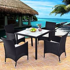 Costway Outdoor Patio Black Rattan Table Chair Furniture Set With Seat Cushions, Patio Furniture (Glass)