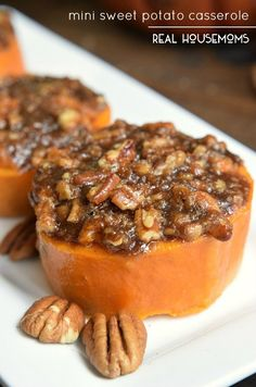 Mini Sweet Potato Casserole With Sweet Potatoes Brown Sugar Orange Juice Cinnamon Brown Sugar Chopped Pecans Butter Cinnamon Sweet Potato Pecan, Sweet Potato Casserole, Sweet Potato Recipes, Breakfast Casserole, Sweet Potato With Pecans, Thanksgiving Side Dishes, Thanksgiving Recipes, Fall Recipes, Holiday Recipes