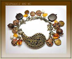 Paisley Bronze Beaded Bracelet, Charm bracelet,  polymer clay jewelry via Etsy