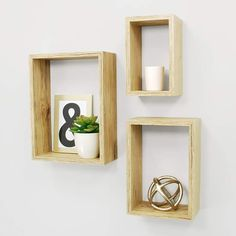 Kiera Grace Nesting Contemporary Floating Wall Shelves, 5 by 7 by 9 by - Pale Natural Wood Finish, Set of 3 ** Details can be found by clicking on the image. (This is an affiliate link) Floating Wall Shelves, Wooden Shelves, Wall Cubes, Rock Decor, Cool Walls, Display Shelves, Decoration, Cuba, Wall Decor