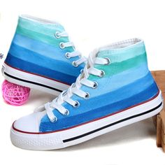 2017 Spring Summer Pink Blue Gradient Color High Flat New Women's Canvas Shoes Hand Painted Casual Lovers shoes Zapatos Mujer Gg
