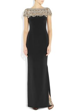 They rarely ever get it wrong. MARCHESA  Embellished silk-crepe column gown