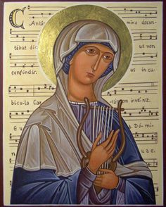 Ikoon van de heilige Cecilia Santa Cecilia, Religious Icons, Religious Art, St Cecelia, Sainte Cecile, Roman Church, Catholic Crafts, Russian Orthodox, Byzantine Icons