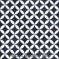 """Circulos Black and White"" Cement Tile for the bathroom"