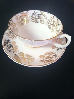 GOLD Rose Pattern on Blush Pink Royal Grafton Bone China Cup and Saucer,