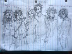 The originals :) - Rachel , Thalia, Annabeth, Percy , Grover , and Nico. such a great drawing