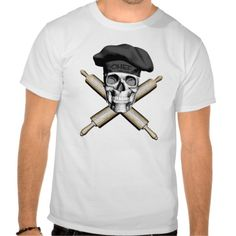 Black and white skull and crossed rolling pins as crossbones and wearing a black traditional, puffy chef style hat