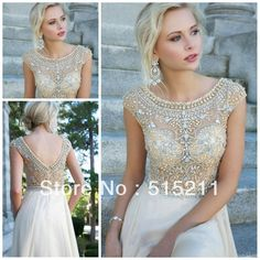 Modest White Chiffon Cap Sleeves Prom Long Dresses With Crystals Beaded 2014 New Women Evening Party Gowns $155.99