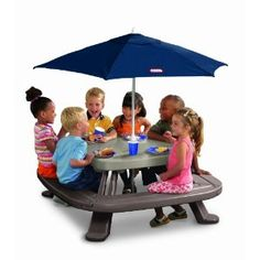 Little Tikes Fold 'n Store Table with Market Umbrella. Daddy & I are getting little man one of these this summer, except it's just a smaller table with 2 benches on it & it still comes with the umbrella! (: