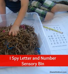 Back to School - I Spy Letter and Number Cookie Cutter Sensory Bin with Record Sheet