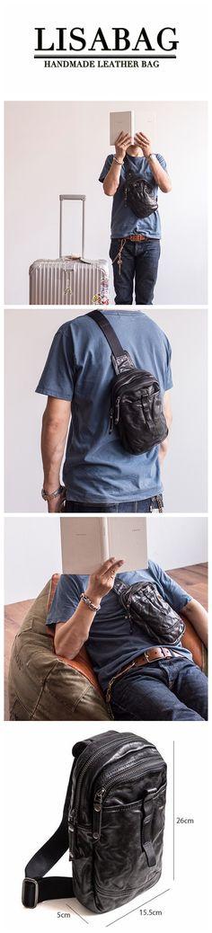 351361cd93 Outdoor Men s Leather Shoulder Bag Sling Chest Bag Crossbody Hiking bag  Cool Small Backpack MBL21. LISABAG