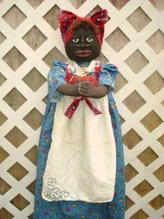 Primitive BLACK MAMMY DOLL Pattern and Apple by raggedydays, $11.50