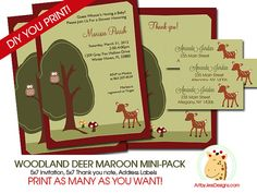 Woodland Deer Forest Nature Theme Baby Shower by AllPetsCherished, $16.00