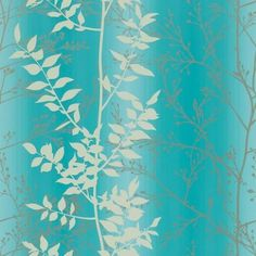 Persephone (110184) - Harlequin Wallpapers - A pretty leaf trail with metallic highlights which catch the light beautifully - showing in cream and gilver on a white and blue striped background. Other colour ways available. Please request a sample for true match. Paste-the-wall product.