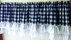 Items similar to Gingham Ruffled Valance on Etsy Swag Curtains, Cafe Curtains, Modern Curtains, Blue Kitchen Curtains, Curtain Rods, Gingham, Farmhouse Decor, Sweet Home, Windows