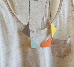 coral yellow grey + blue geometric necklace   www.shopswanlake.com