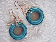 Hammering and shaping copper is a wonderful way to make your creative ideas come true... These earrings are simple and neat: copper + teal cotton