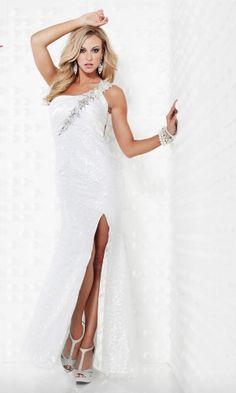 White One Shoulder Long/Floor-length Natural Graduation Prom Dress PD30F5 at Dressmini.com