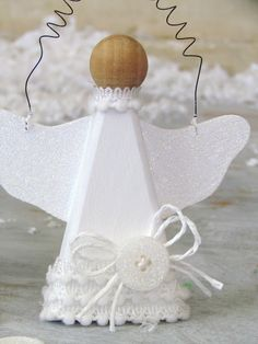 DIY Glitter Snow Angel Ornament {ribbonsandglue.com}