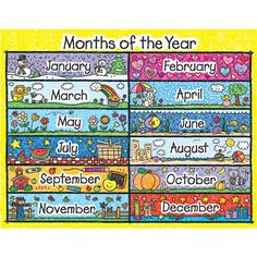 Looking for a Printable Months Year Chart. We have Printable Months Year Chart and the other about Printable Chart it free. Preschool Monthly Themes, Preschool Activities, Days And Months, Months In A Year, 12 Months, Ol Days, Moths Of The Year, Carson Dellosa, Kids Poster